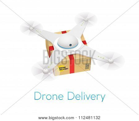 Remote Air White Modern Drone With A Box