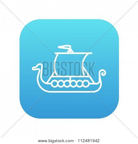 Old ship line icon for web, mobile and infographics. Vector white icon on the blue gradient square with rounded corners isolated on white background.