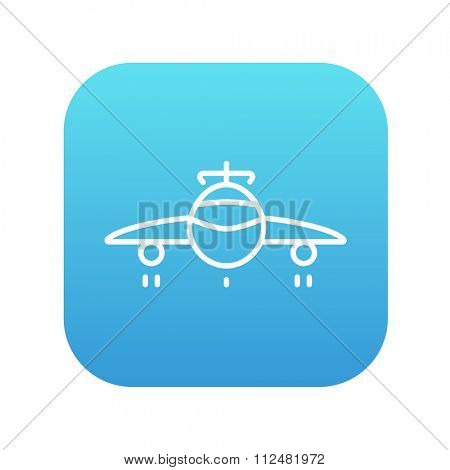 Airplane line icon for web, mobile and infographics. Vector white icon on the blue gradient square with rounded corners isolated on white background.