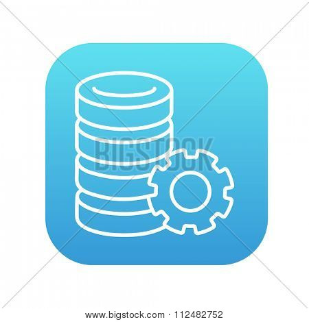 Server with gear line icon for web, mobile and infographics. Vector white icon on the blue gradient square with rounded corners isolated on white background.