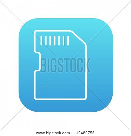 Memory card line icon for web, mobile and infographics. Vector white icon on the blue gradient square with rounded corners isolated on white background.