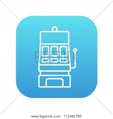 Slot machine line icon for web, mobile and infographics. Vector white icon on the blue gradient square with rounded corners isolated on white background.