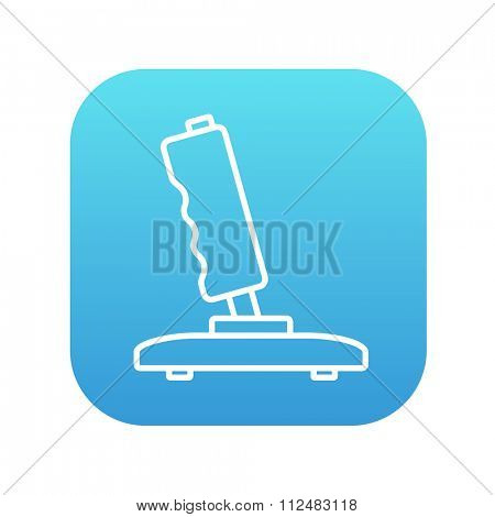 Joystick line icon for web, mobile and infographics. Vector white icon on the blue gradient square with rounded corners isolated on white background.