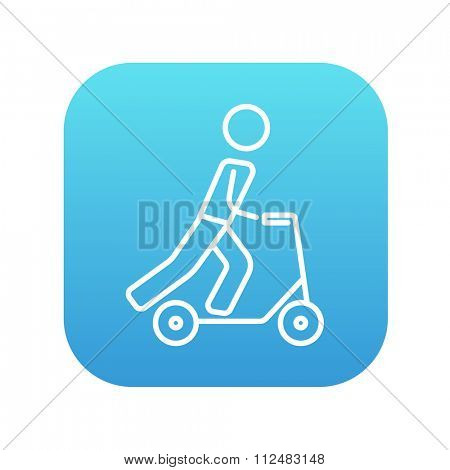Man riding a kick scooter line icon for web, mobile and infographics. Vector white icon on the blue gradient square with rounded corners isolated on white background.