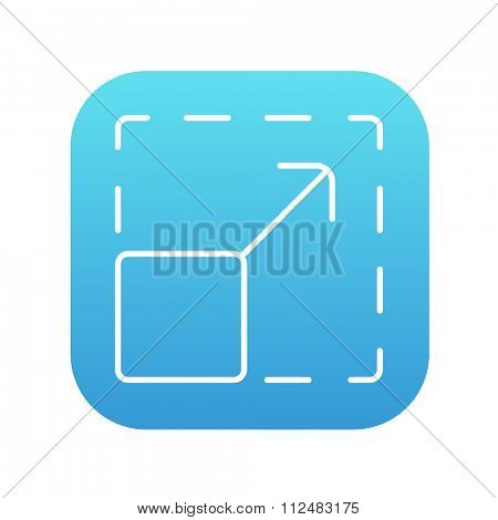 Scalability line icon for web, mobile and infographics. Vector white icon on the blue gradient square with rounded corners isolated on white background.