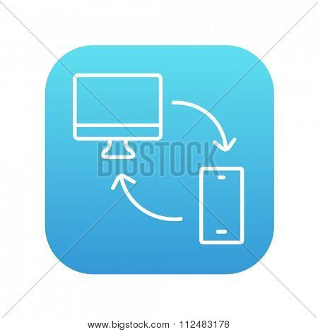 Synchronization computer with mobile device line icon for web, mobile and infographics. Vector white icon on the blue gradient square with rounded corners isolated on white background.