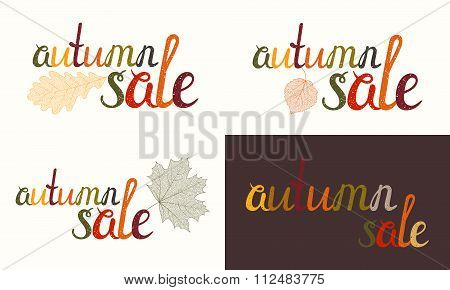 Set of Autumn sale inscription.