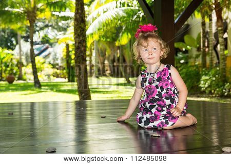 Adorable Little Child Girl . Summer Green Nature Background.  Use It For Baby, Parenting Or Love Con