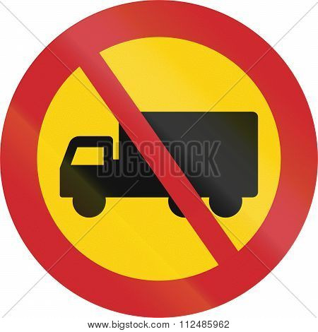 Road Sign Used In Sweden - No Lorries