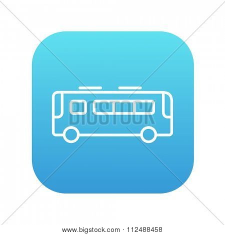 Bus line icon for web, mobile and infographics. Vector white icon on the blue gradient square with rounded corners isolated on white background.
