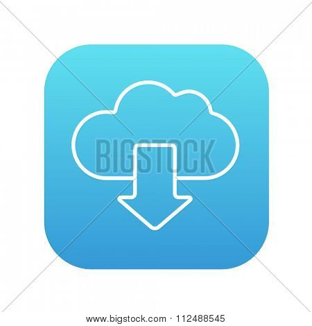 Cloud with arrow down line icon for web, mobile and infographics. Vector white icon on the blue gradient square with rounded corners isolated on white background.