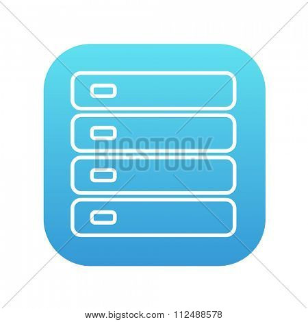 Computer server line icon for web, mobile and infographics. Vector white icon on the blue gradient square with rounded corners isolated on white background.