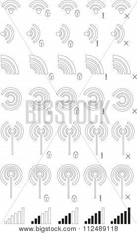 Icons of wi-fi zones. Black thin lines on white background, round, square, splat, castle, cross