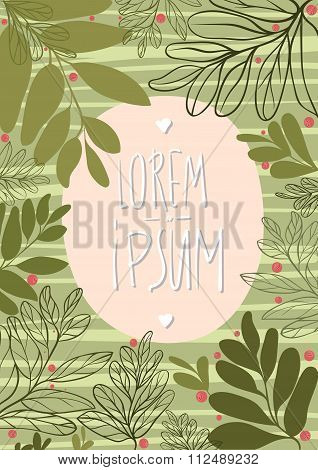 Template card with green leaves and cowberry.