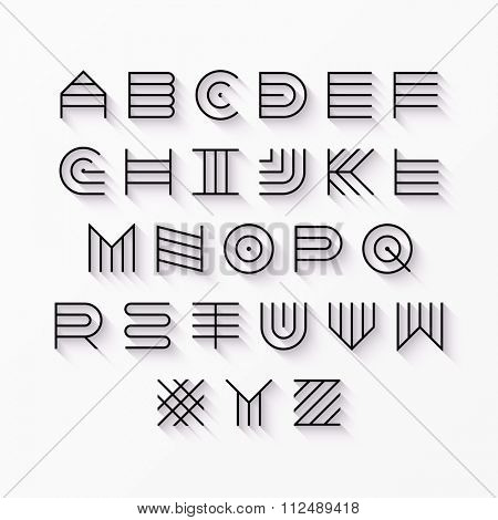 Thin line style, linear uppercase modern font, typeface, latin alphabet with shadow effect vector design element