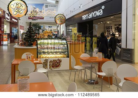 Khimki, Russia - December 22, 2015. Cafe in large shopping centers Mega