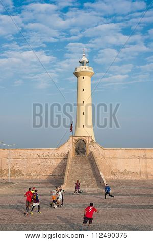 Udayas Kasbah Lighthouse In The Atlantic Coast Of Rabat, Morocco.