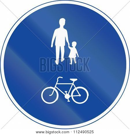 Road Sign Used In Sweden - Compulsory Track For Pedestrians, Cyclists And Moped Drivers