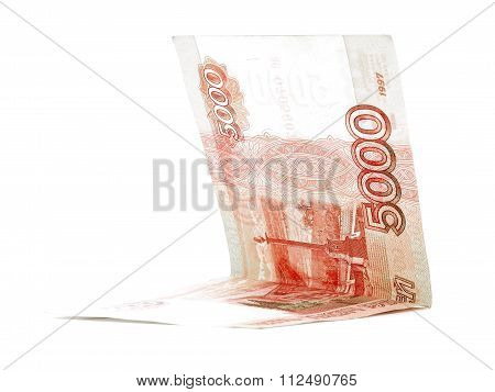 Five Thousand Russian Ruble Salary Folded Isolated On White Background
