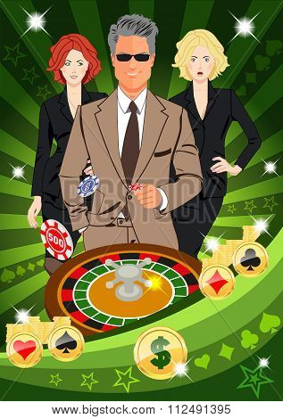 Confident Lucky Man Spins Roulette