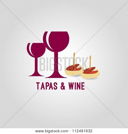 Tapas and wine background