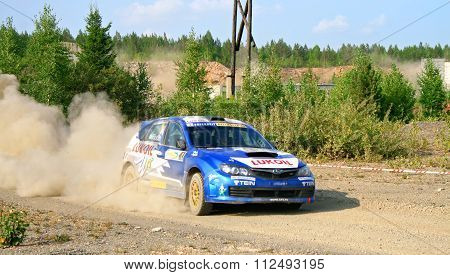 BAKAL, RUSSIA - AUGUST 13: Patrik Flodin's Subaru Impreza WRC (No. 1) competes at the annual Rally Southern Ural on August 13, 2010 in Bakal, Satka district, Chelyabinsk region, Russia.
