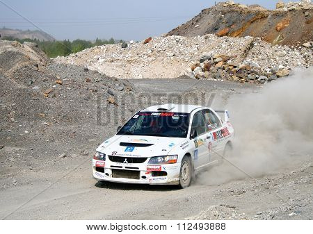 BAKAL, RUSSIA - AUGUST 13: Rally Southern Ural, Gennadiy Broslavsky's Mitsubishi Lancer Evolution IX WRC #6 on August 13,2010 in Bakal, Satka district, Chelyabinsk region, Russia.