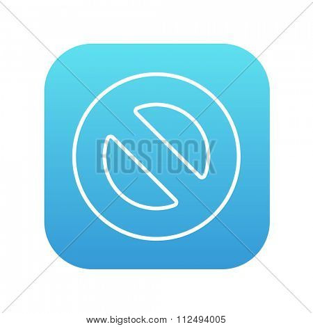 Not allowed sign line icon for web, mobile and infographics. Vector white icon on the blue gradient square with rounded corners isolated on white background.