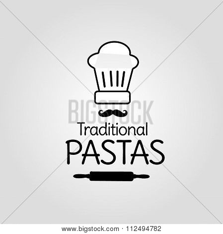 Traditional pastas icon with chef's hat