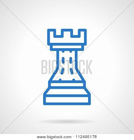 Chess vector icon simple blue line style
