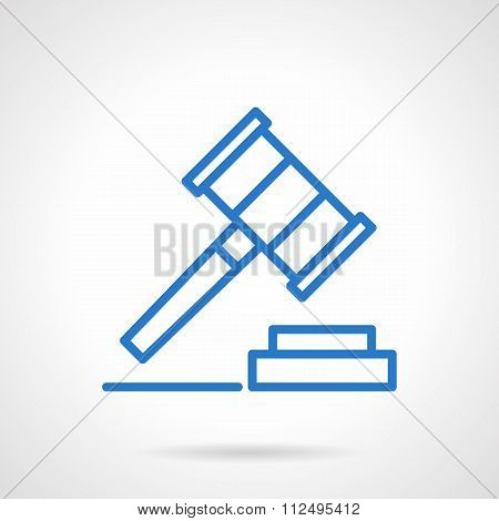 Gavel vector icon blue simple line style