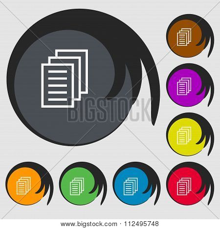 Copy File, Duplicate Document Icon. Symbols On Eight Colored Buttons.