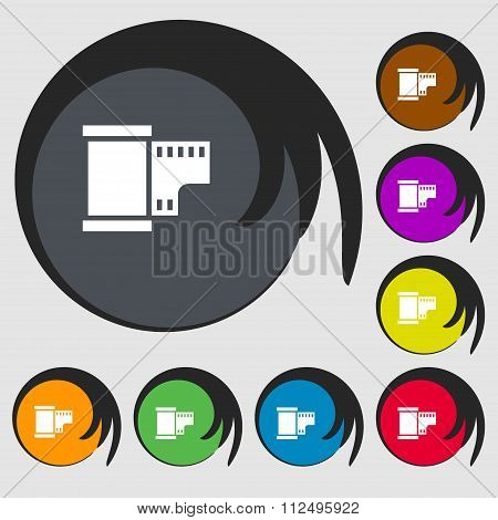 35 Mm Negative Films Icon. Symbols On Eight Colored Buttons.