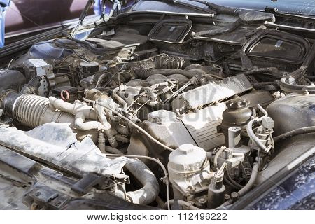Engine Compartment, Old-car Bmw 5-series E34