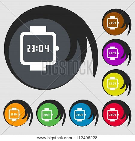 Wristwatch Icon. Symbols On Eight Colored Buttons.