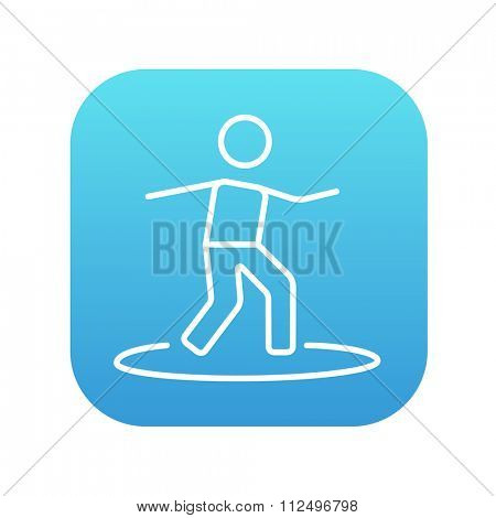 Male surfer riding on surfboard line icon for web, mobile and infographics. Vector white icon on the blue gradient square with rounded corners isolated on white background.