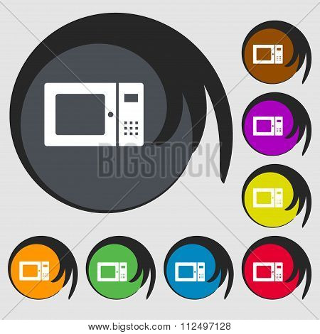 Microwave Icon. Symbols On Eight Colored Buttons.
