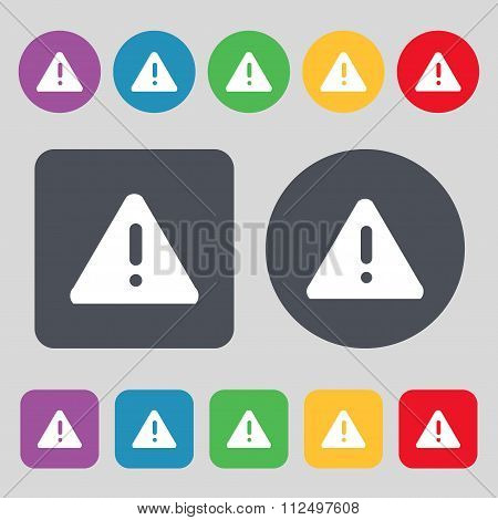 Exclamation Mark, Attention Caution Icon Sign. A Set Of 12 Colored Buttons. Flat Design.