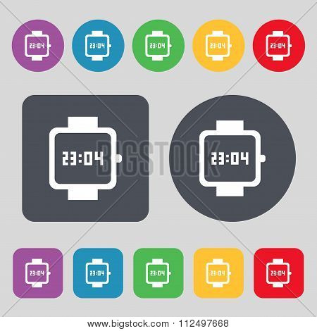 Wristwatch Icon Sign. A Set Of 12 Colored Buttons. Flat Design.