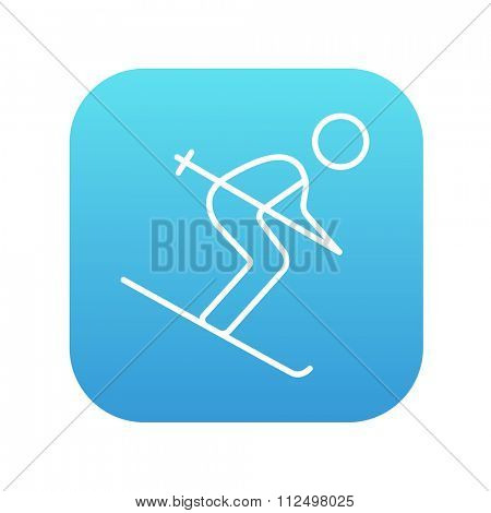 Downhill skiing line icon for web, mobile and infographics. Vector white icon on the blue gradient square with rounded corners isolated on white background.