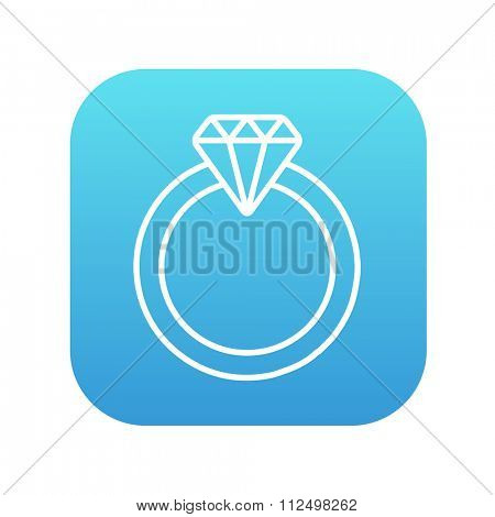 Diamond ring line icon for web, mobile and infographics. Vector white icon on the blue gradient square with rounded corners isolated on white background.