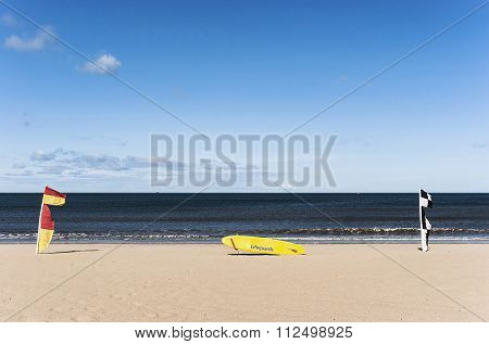 Board on the beach