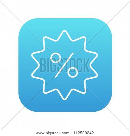 Discount tag line icon for web, mobile and infographics. Vector white icon on the blue gradient square with rounded corners isolated on white background.