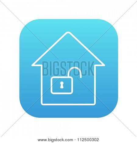 House with an open lock line icon for web, mobile and infographics. Vector white icon on the blue gradient square with rounded corners isolated on white background.
