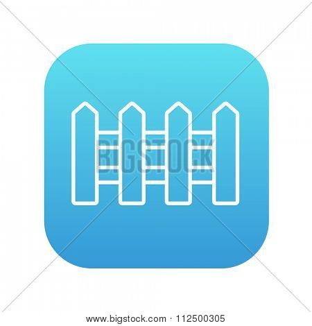 Fence line icon for web, mobile and infographics. Vector white icon on the blue gradient square with rounded corners isolated on white background.