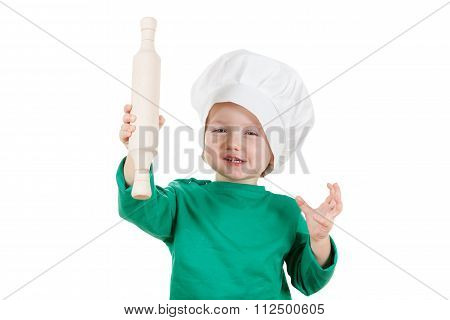 Smiling Little Boy Kneading Dough For The Cookies, Isolated On White