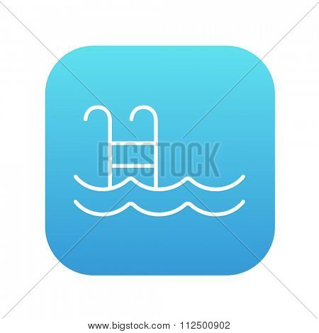 Swimming pool with ladder line icon for web, mobile and infographics. Vector white icon on the blue gradient square with rounded corners isolated on white background.