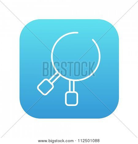 Dental pliers line icon for web, mobile and infographics. Vector white icon on the blue gradient square with rounded corners isolated on white background.