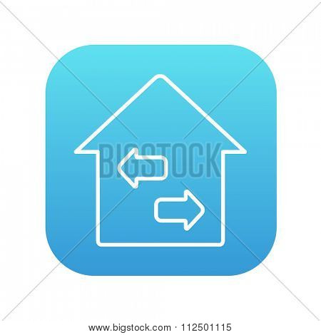 Property resale line icon for web, mobile and infographics. Vector white icon on the blue gradient square with rounded corners isolated on white background.