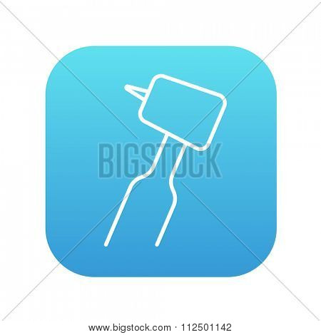 Dental drill line icon for web, mobile and infographics. Vector white icon on the blue gradient square with rounded corners isolated on white background.